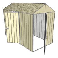 Garden shed gable 1 hinged door 1 hinged door cream for Garden shed 5x3