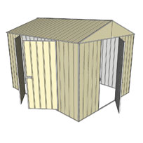 Garden shed gable 1 hinged door 2 hinged door cream for Garden shed 3x3