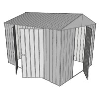 Garden shed gable 1 hinged door 2 hinged door zinc for Garden shed 3x3