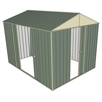 Garden shed gable 1 sliding door 2 sliding green for Garden shed 3x3