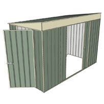 Garden shed skillion 1 hinged door 2 sliding green for Garden shed 5x3